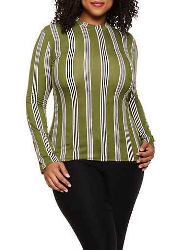 Plus Size Striped Top | 3917062702995,OLIVE,large