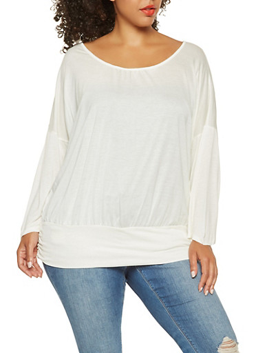 Plus Size Dolman Sleeve Top,IVORY,large