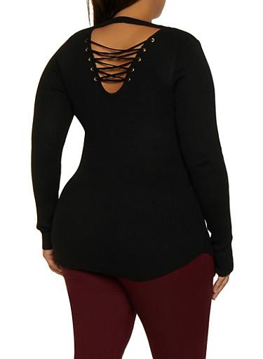 Plus Size Lace Up Keyhole Back Sweater,BLACK,large