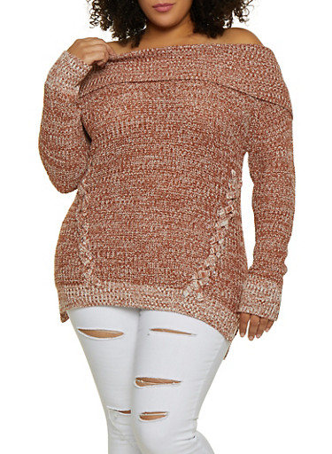 Plus Size Lace Up Off the Shoulder Sweater,BROWN,large