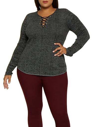 Plus Size Marled Lace Up Sweater,BLACK,large