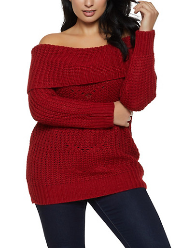 Plus Size Fold Over Off the Shoulder Sweater,RED,large
