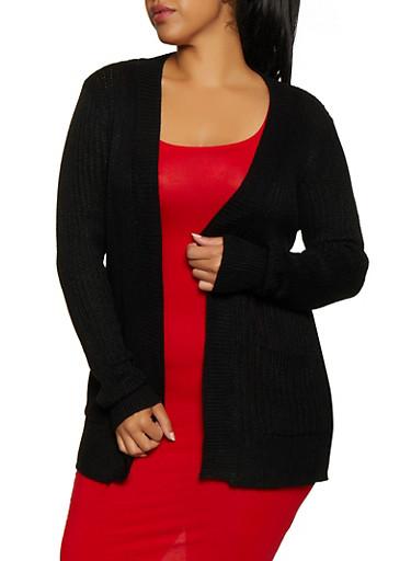 Plus Size Two Pocket Knit Cardigan,BLACK,large