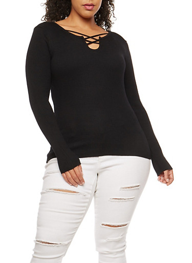 Plus Size Ribbed Knit Criss Cross Neck Top,BLACK,large