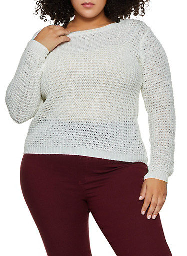 Plus Size Chunky Knit Sweater,IVORY,large