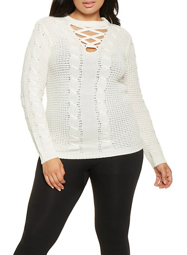 Plus Size Lace Up Sweater,IVORY,large