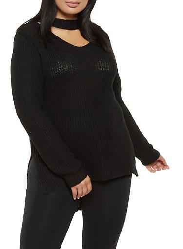 Plus Size Keyhole Neck Sweater,BLACK,large