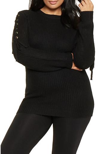 Plus Size Lace Up Sleeve Sweater,BLACK,large
