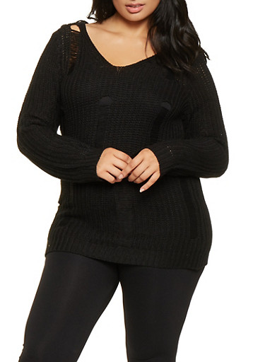 Plus Size Distressed Knit Sweater,BLACK,large
