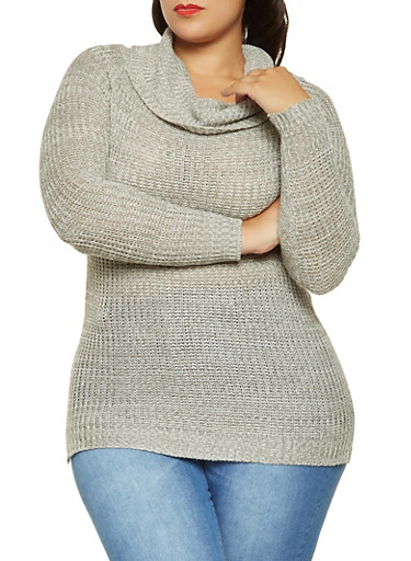 Plus Size Cowl Neck Sweater,GRAY,large