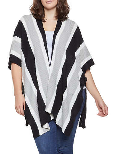Plus Size Striped Knit Kimono,BLACK,large