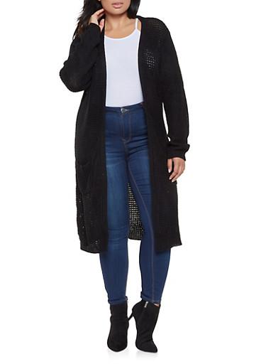 Plus Size Long Knit Cardigan,BLACK,large