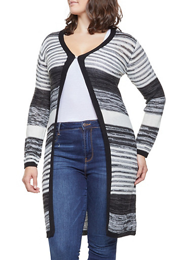 Plus Size Striped Knit Cardigan,BLACK,large