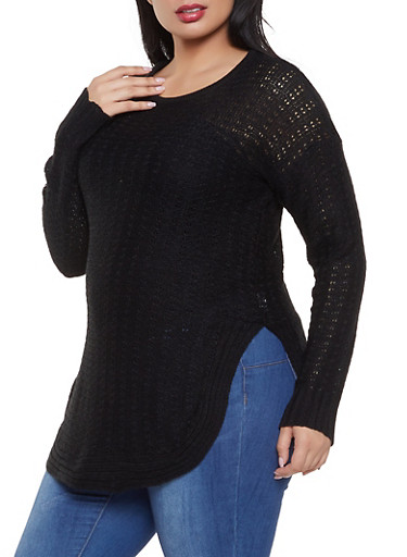 Plus Size Round Hem Knit Sweater,BLACK,large