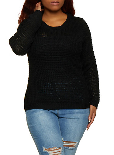 Plus Size Long Sleeve High Low Sweater,BLACK,large