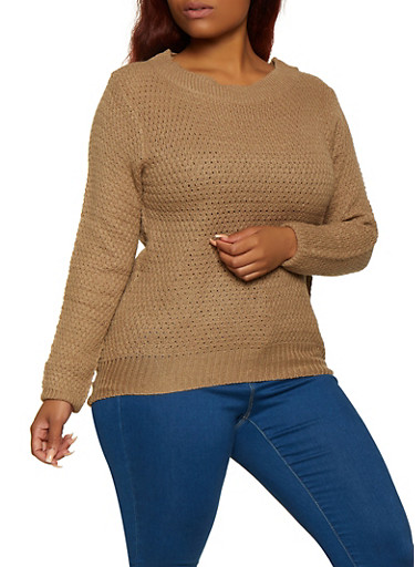 Plus Size Solid Crew Neck Sweater,KHAKI,large