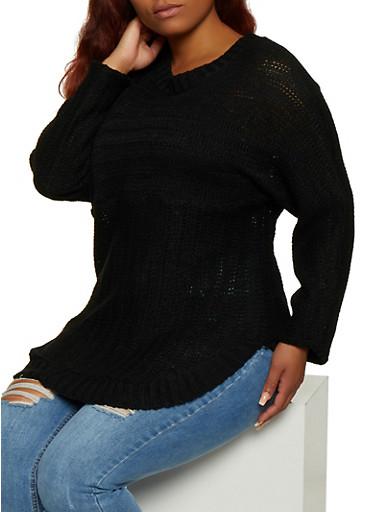 Plus Size Crew Neck Rounded Hem Sweater,BLACK,large