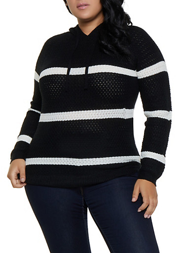 Plus Size Striped Hooded Sweater,BLACK,large