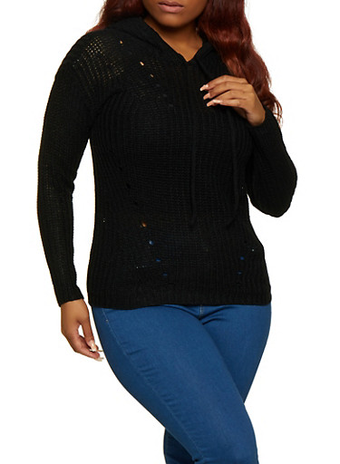Plus Size Solid Hooded Sweater,BLACK,large