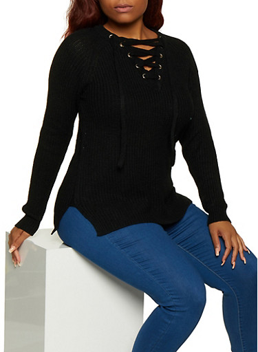 Plus Size Solid Lace Up Sweater,BLACK,large