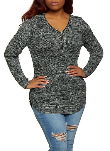 Plus Size Knit Zip Neck Sweater,BLACK,large