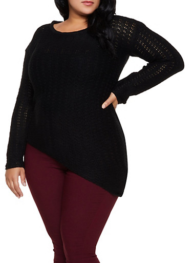 Plus Size Asymmetrical Scoop Neck Sweater,BLACK,large
