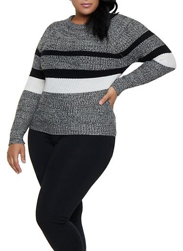 Plus Size Striped Knit Sweater,BLACK,large