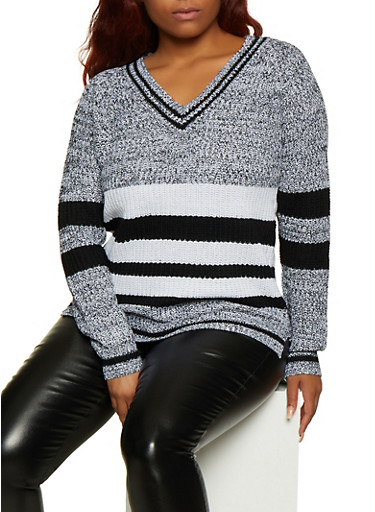 Plus Size Marled Striped Sweater,BLACK,large