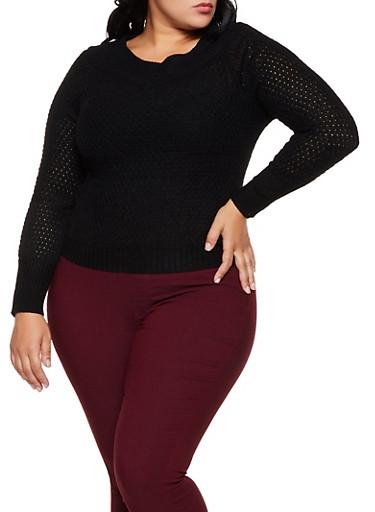 Plus Size V Neck Long Sleeve Sweater,BLACK,large