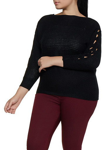 Plus Size Braided Sleeve Knit Sweater,BLACK,large