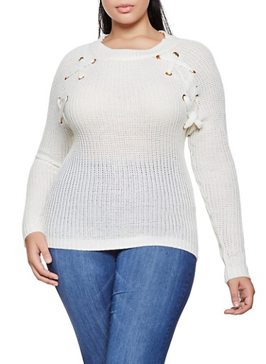 Plus Size Lace Up Detail Knit Sweater by Rainbow