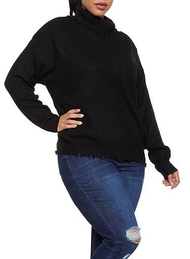 Plus Size Frayed Turtleneck Sweater,BLACK,large