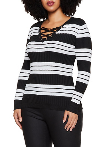 Plus Size Lace Up Striped Sweater,BLACK,large