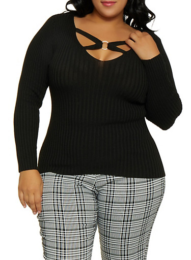 Plus Size O Ring Detail Sweater,BLACK,large