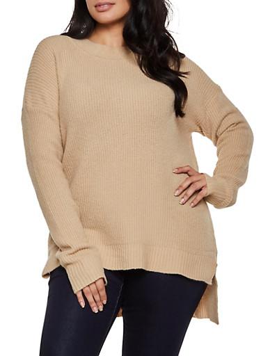 Plus Size Brushed Knit Tunic Sweater,TAN,large