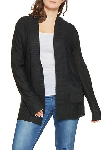 Plus Size Knit Cardigan,BLACK,large