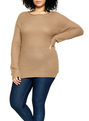 Plus Size Waffle Knit Sweater | 3920054266907 by Rainbow