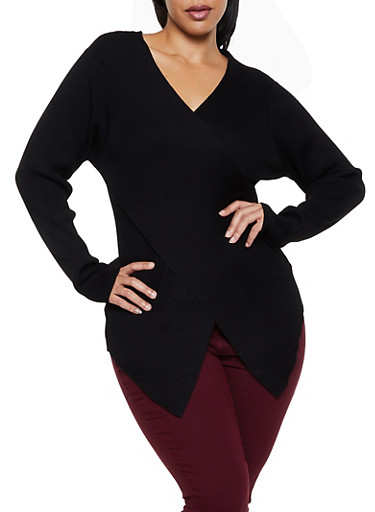 Plus Size Faux Wrap Asymmetrical Sweater,BLACK,large