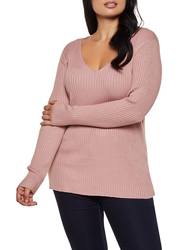 Plus Size Lace Up Back Sweater,MAUVE,large