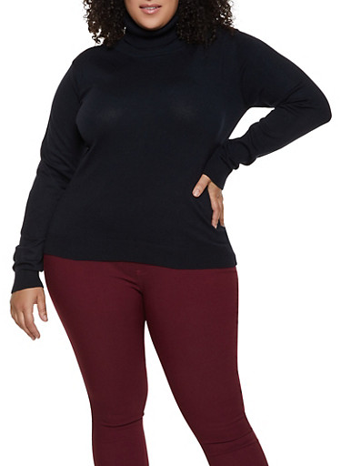 Plus Size Solid Turtleneck Sweater | 3920062700092,BLACK,large