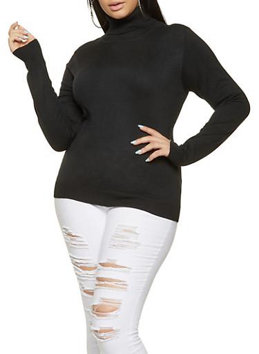 Plus Size Turtleneck Sweater,BLACK,large