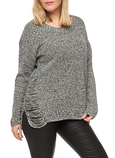 Plus Size Two Tone Destroyed Sweater,BLACK,large