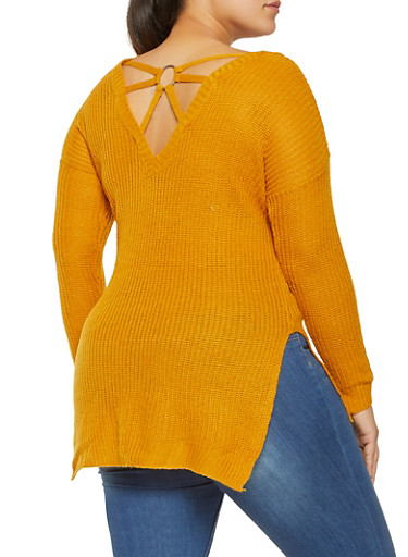 Plus Size Caged Back Sweater,MUSTARD,large