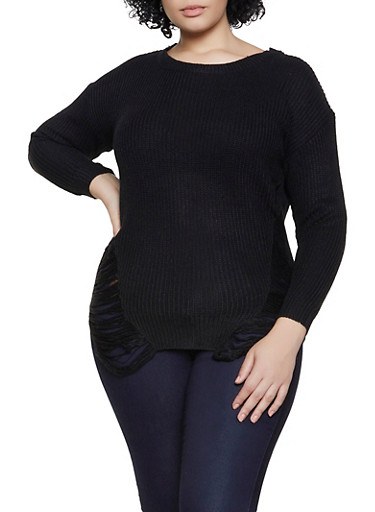 Plus Size Distressed Crew Neck Sweater,BLACK,large