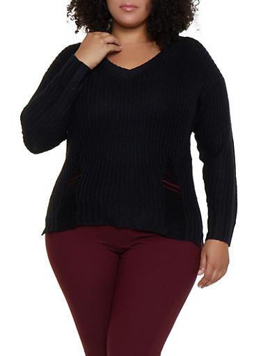 Plus Size Long Sleeve Shredded Sweater,BLACK,large