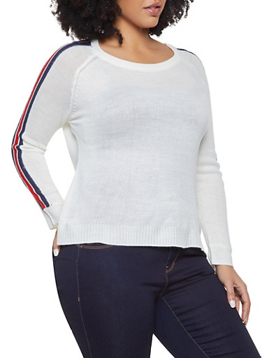 Plus Size Striped Sleeve Sweater,WHITE,large