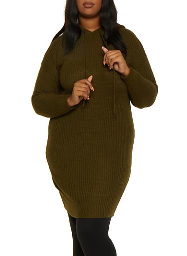 Plus Size Hooded Tunic Sweater,OLIVE,large