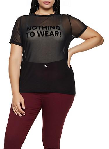 Plus Size Nothing to Wear Mesh Tee,BLACK,large