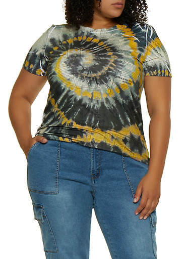 Plus Size Tie Dye Newspaper Print Tee,MUSTARD,large