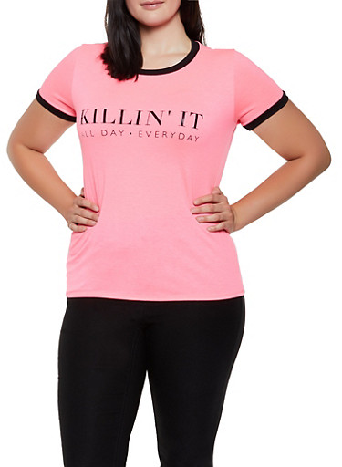 Plus Size Killin It Graphic Tee,NEON PINK,large